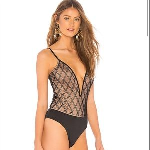 h:ours Farrah Plunge Bodysuit in Onyx